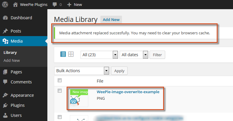 Example overwritten image in overview media library