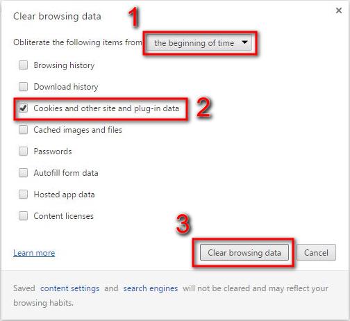 Google Chrome Clear browsing data window