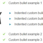 Example of custom list bullets behaving like real bullets and indented bullets