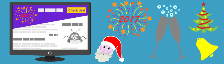 illustration of the new year animation bar plugin for WordPress