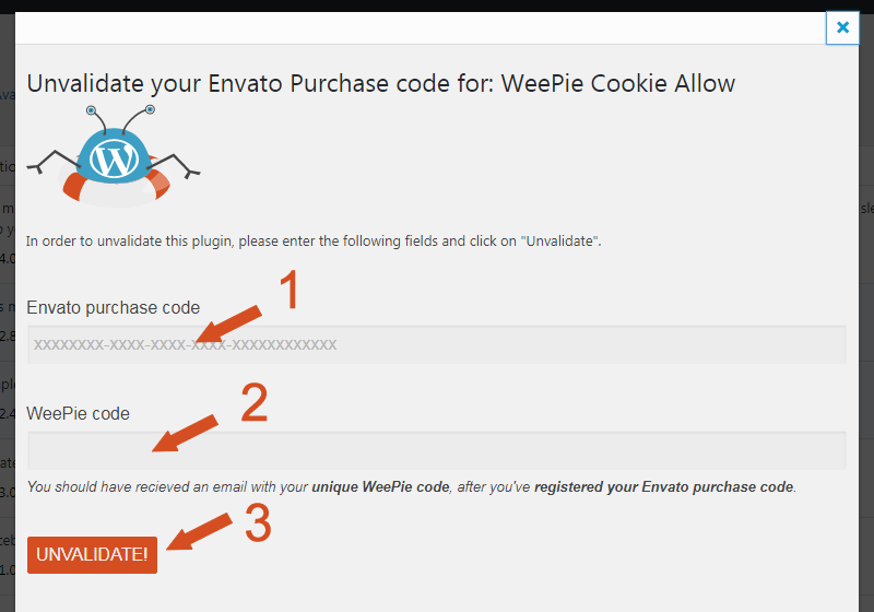 Unvalidate Weepie Cookie Allow plugin WordPress Plugin popup