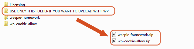 Upload WeePie Cookie Allow plugin ZIP files through the WordPress Dashboard