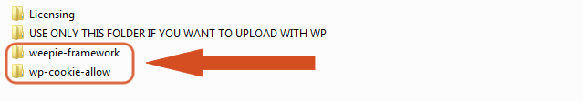 Upload by FTP the WeePie Cookie Allow plugin folders