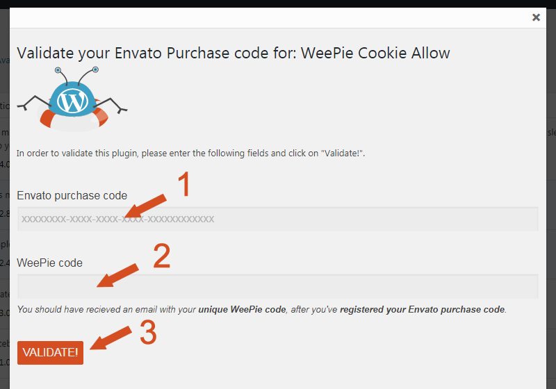 Validate Weepie Cookie Allow plugin WordPress Plugin popup
